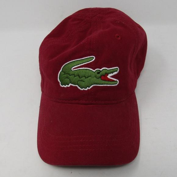 8bc82f50667e7b Lacoste Accessories   Big Croc Hat Burgundy Strap Os Alligator ...
